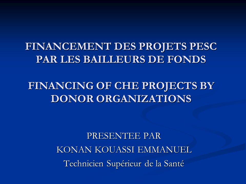 FINANCEMENT DES PROJETS PESC PAR LES BAILLEURS DE FONDS FINANCING OF CHE PROJECTS BY DONOR ORGANIZATIONS PRESENTEE PAR KONAN KOUASSI EMMANUEL Technici