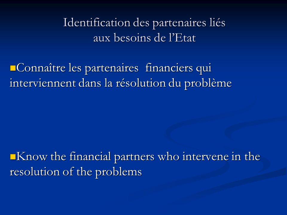 Identification des partenaires liés aux besoins de lEtat Connaître les partenaires financiers qui interviennent dans la résolution du problème Connaît