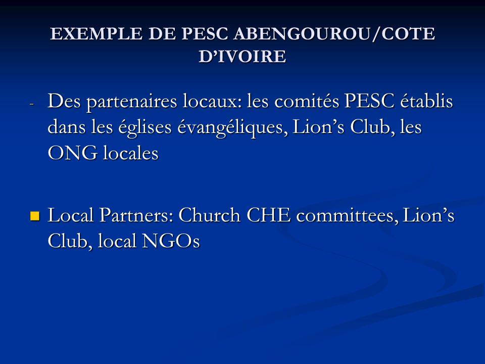 - Des partenaires locaux: les comités PESC établis dans les églises évangéliques, Lions Club, les ONG locales Local Partners: Church CHE committees, L