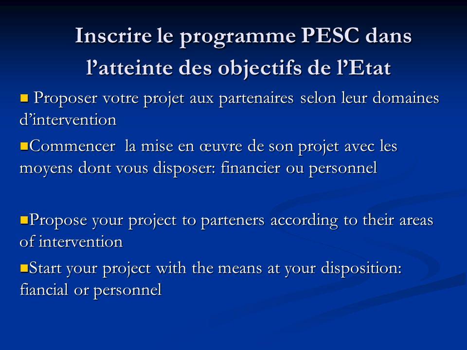 Inscrire le programme PESC dans latteinte des objectifs de lEtat Inscrire le programme PESC dans latteinte des objectifs de lEtat Proposer votre proje