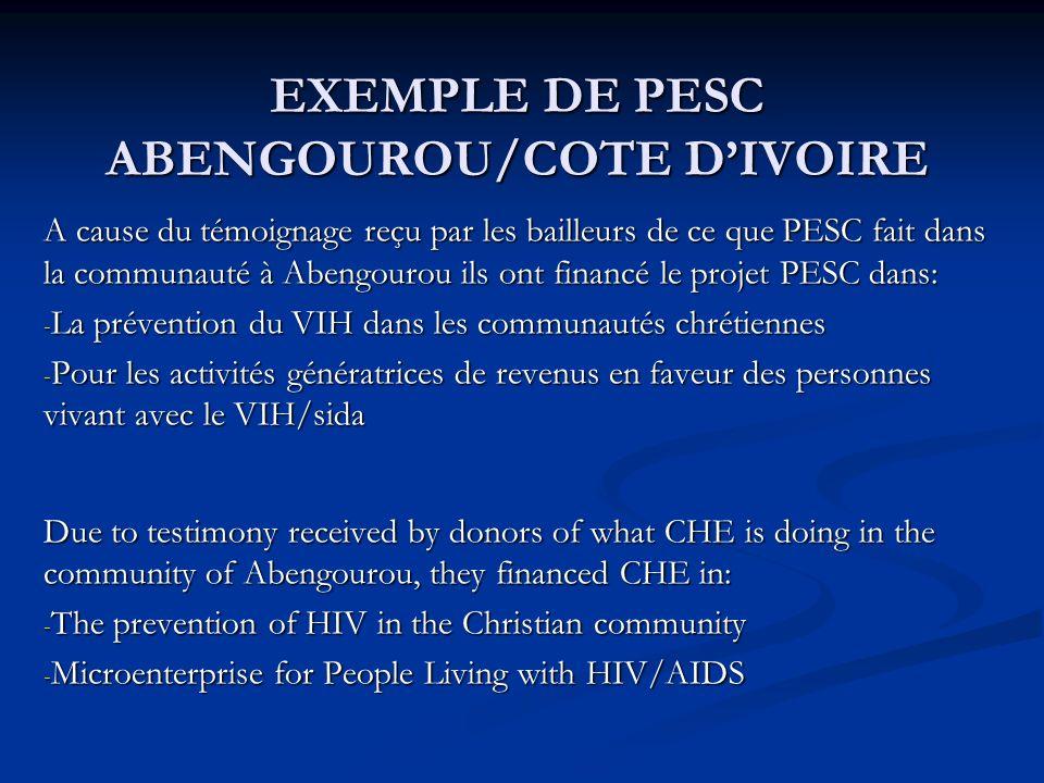 EXEMPLE DE PESC ABENGOUROU/COTE DIVOIRE A cause du témoignage reçu par les bailleurs de ce que PESC fait dans la communauté à Abengourou ils ont finan
