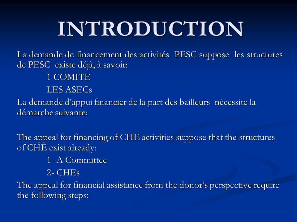 INTRODUCTION La demande de financement des activités PESC suppose les structures de PESC existe déjà, à savoir: 1 COMITE 1 COMITE LES ASECs LES ASECs