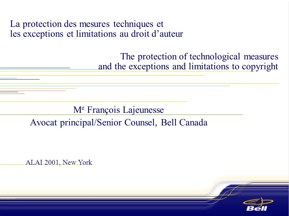© Bell Canada 2001 2 2 Plan.Introduction.La situation au Canada.Un exemple concret : les prémisses de base.Quelques réflexions sur la cohabitation des exceptions et des mesures techniques.Conclusion.Introduction.The situation in Canada.A concrete example: basic premises.A few thoughts on the cohabiting of exceptions and technical measures.Conclusion