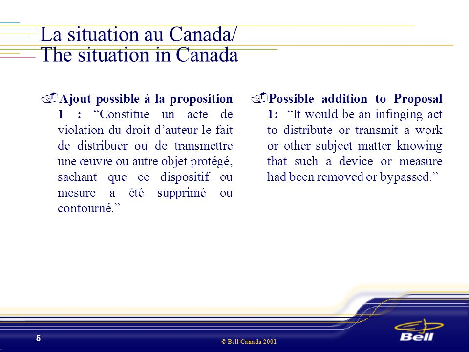 © Bell Canada 2001 6 La situation au Canada/ The situation in Canada.Proposition 2 : Constitue un acte de violation du droit dauteur le fait de manufacturer, importer ou distribuer un dispositif ayant comme [objet]/[effet] de supprimer ou de neutraliser tout dispositif ou mesure destiné à limiter la reproduction, [performance en public ou communication au public]/[ou tout autre droit accordé en vertu de la Loi sur le droit dauteur] dune œuvre ou dun autre objet protégé..Proposal 2: It would be an infringing act to manufacture, import or distribute a device which has the [purpose of]/ [effect of] removing or circumventing any device or measure intended to limit reproduction [performance in public or communication to the public]/[or any other right granted under the Copyright Act] of a work or other subject matter.