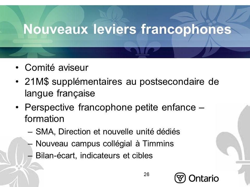 26 Nouveaux leviers francophones Comité aviseur 21M$ supplémentaires au postsecondaire de langue française Perspective francophone petite enfance – fo