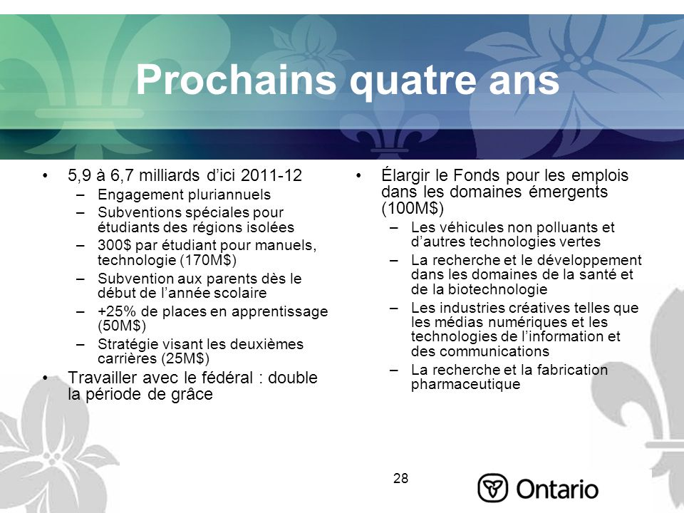 28 Prochains quatre ans 5,9 à 6,7 milliards dici 2011-12 –Engagement pluriannuels –Subventions spéciales pour étudiants des régions isolées –300$ par