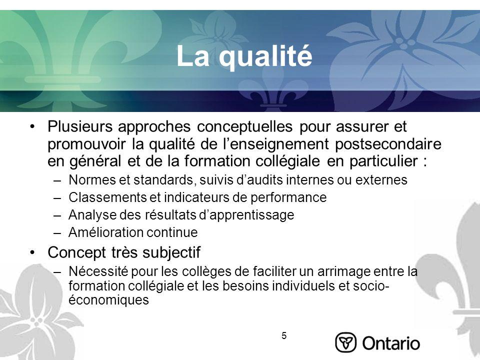 5 La qualité Plusieurs approches conceptuelles pour assurer et promouvoir la qualité de lenseignement postsecondaire en général et de la formation col
