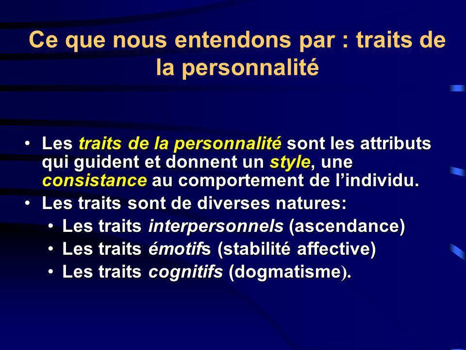 Ce que nous entendons par : traits de la personnalité Les traits de la personnalité sont les attributs qui guident et donnent un style, une consistanc