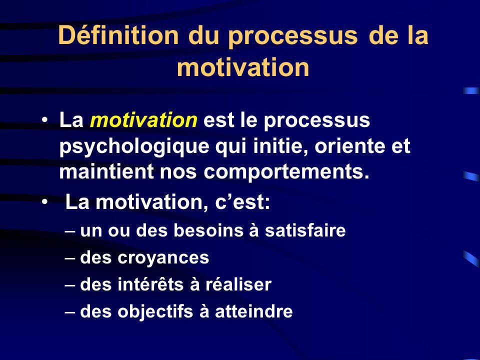 Définition du processus de la motivation La motivation est le processus psychologique qui initie, oriente et maintient nos comportements. La motivatio