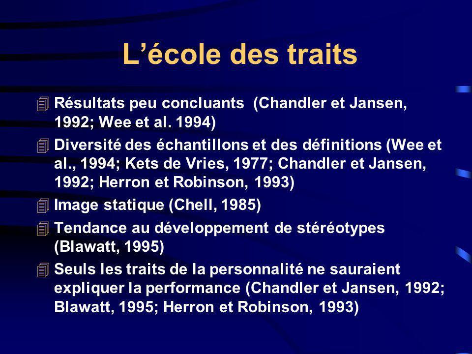 Lécole des traits 4Résultats peu concluants (Chandler et Jansen, 1992; Wee et al. 1994) 4Diversité des échantillons et des définitions (Wee et al., 19