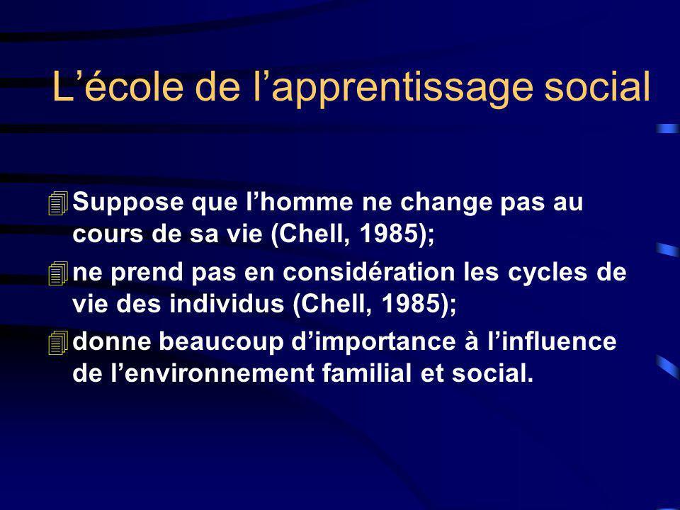 Lécole de lapprentissage social 4Suppose que lhomme ne change pas au cours de sa vie (Chell, 1985); 4ne prend pas en considération les cycles de vie d