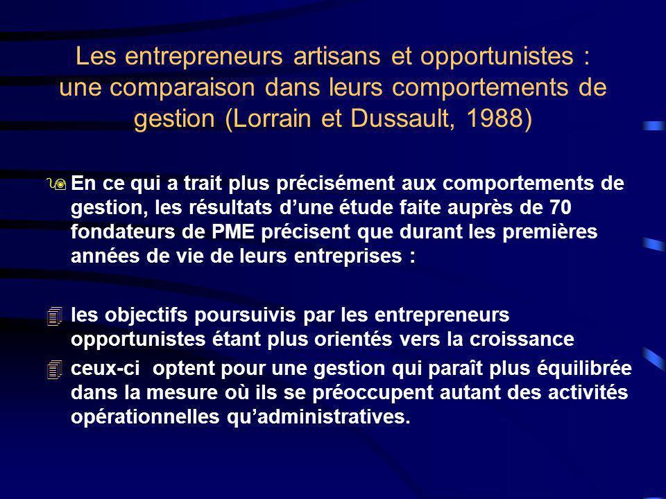 Les entrepreneurs artisans et opportunistes : une comparaison dans leurs comportements de gestion (Lorrain et Dussault, 1988) 9En ce qui a trait plus