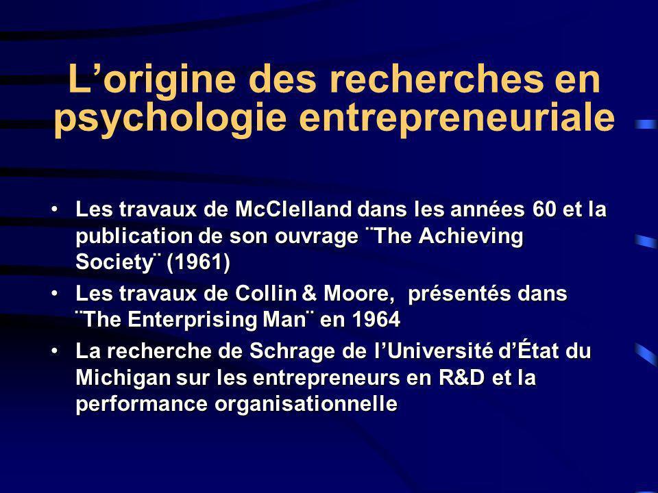 Lorigine des recherches en psychologie entrepreneuriale Les travaux de McClelland dans les années 60 et la publication de son ouvrage ¨The Achieving S