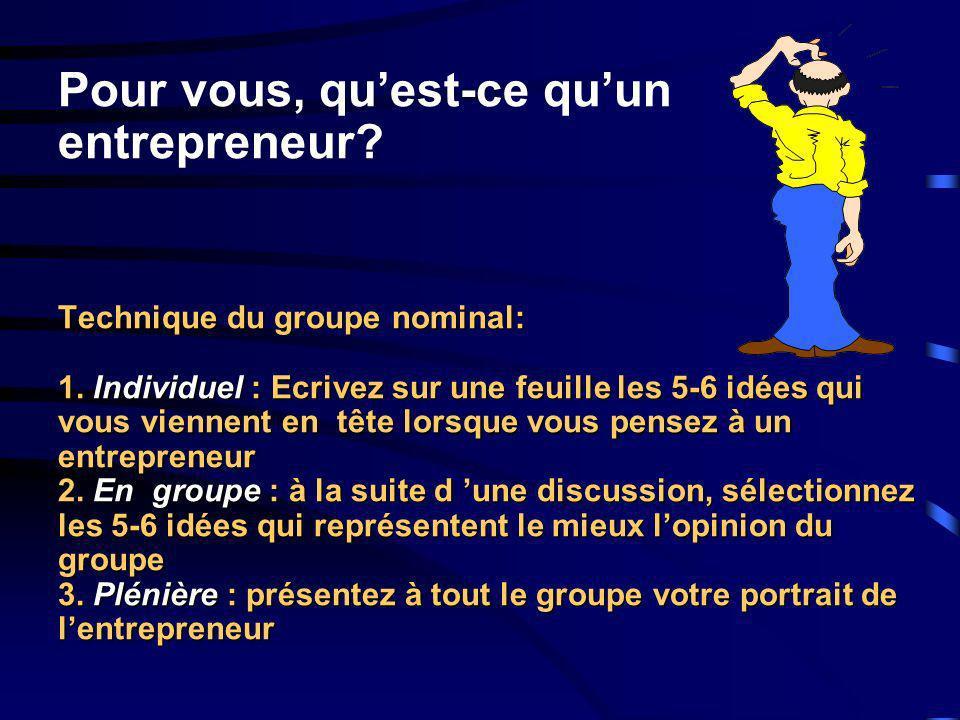 Technique du groupe nominal: 1. Individuel : Ecrivez sur une feuille les 5-6 idées qui vous viennent en tête lorsque vous pensez à un entrepreneur 2.