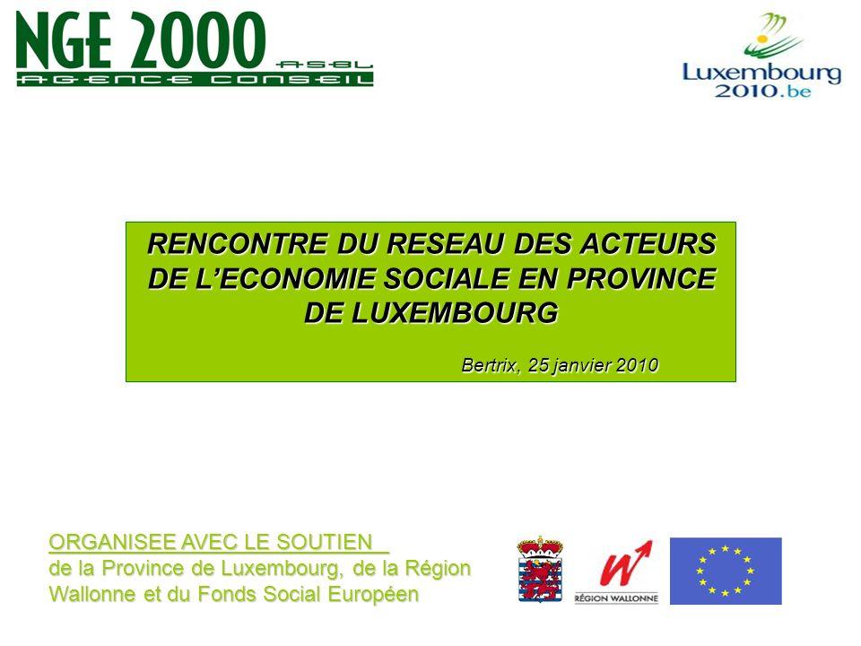 ORGANISEE AVEC LE SOUTIEN de la Province de Luxembourg, de la Région Wallonne et du Fonds Social Européen RENCONTRE DU RESEAU DES ACTEURS DE LECONOMIE SOCIALE EN PROVINCE DE LUXEMBOURG Bertrix, 25 janvier 2010