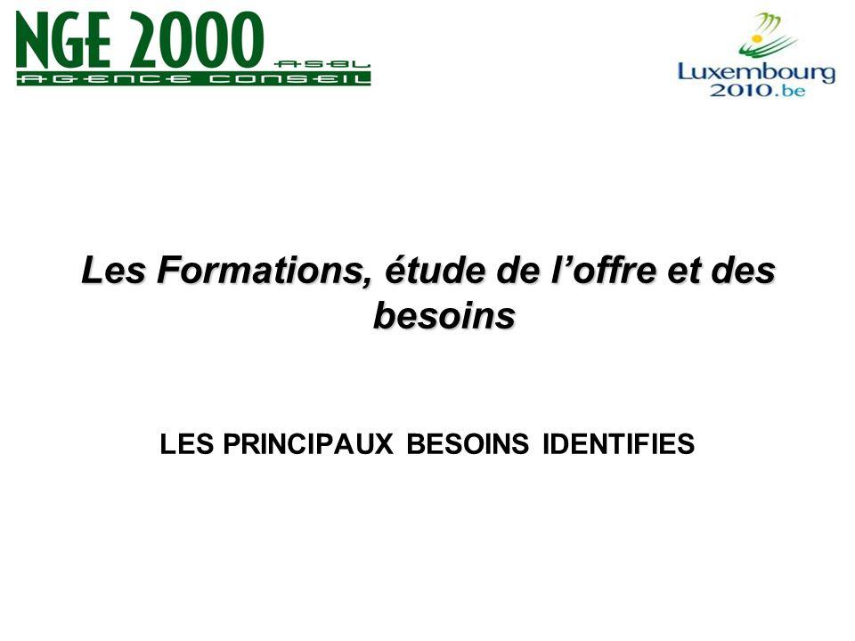 Les Formations, étude de loffre et des besoins LES PRINCIPAUX BESOINS IDENTIFIES