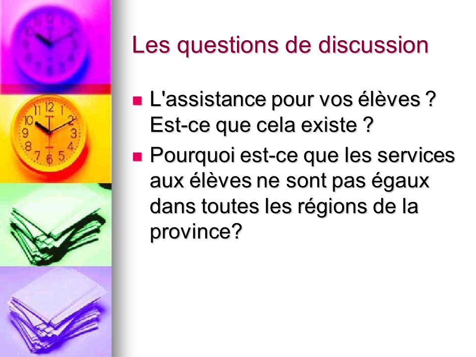 Les questions de discussion L'assistance pour vos élèves ? Est-ce que cela existe ? L'assistance pour vos élèves ? Est-ce que cela existe ? Pourquoi e