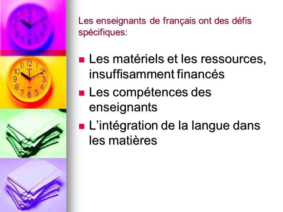 Les enseignants de français ont des défis spécifiques: Les matériels et les ressources, insuffisamment financés Les matériels et les ressources, insuf