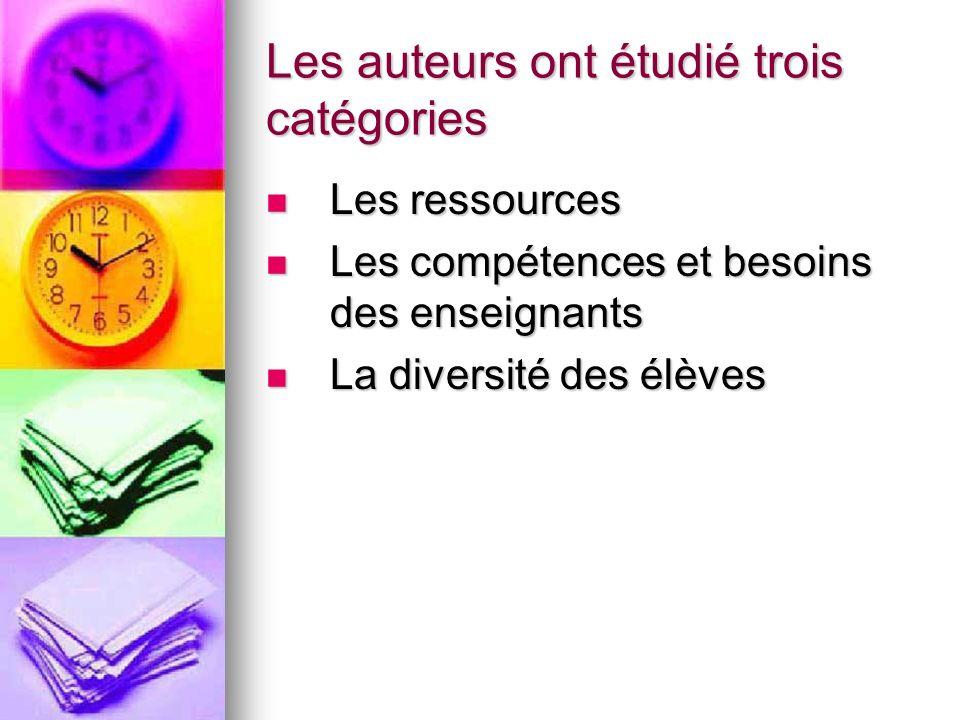 Les auteurs ont étudié trois catégories Les ressources Les ressources Les compétences et besoins des enseignants Les compétences et besoins des enseig