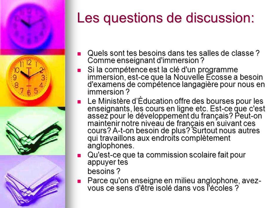 Les questions de discussion: Quels sont tes besoins dans tes salles de classe ? Comme enseignant d'immersion ? Quels sont tes besoins dans tes salles