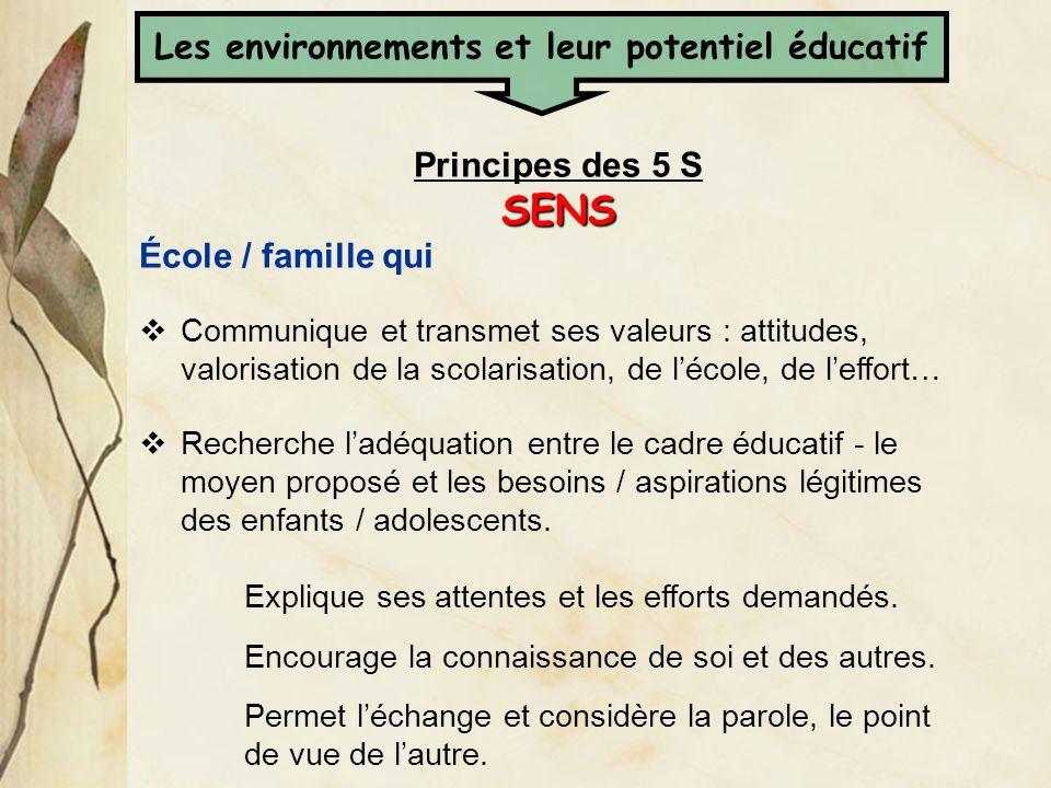 Principes des 5 SSENS École / famille qui Communique et transmet ses valeurs : attitudes, valorisation de la scolarisation, de lécole, de leffort… Rec