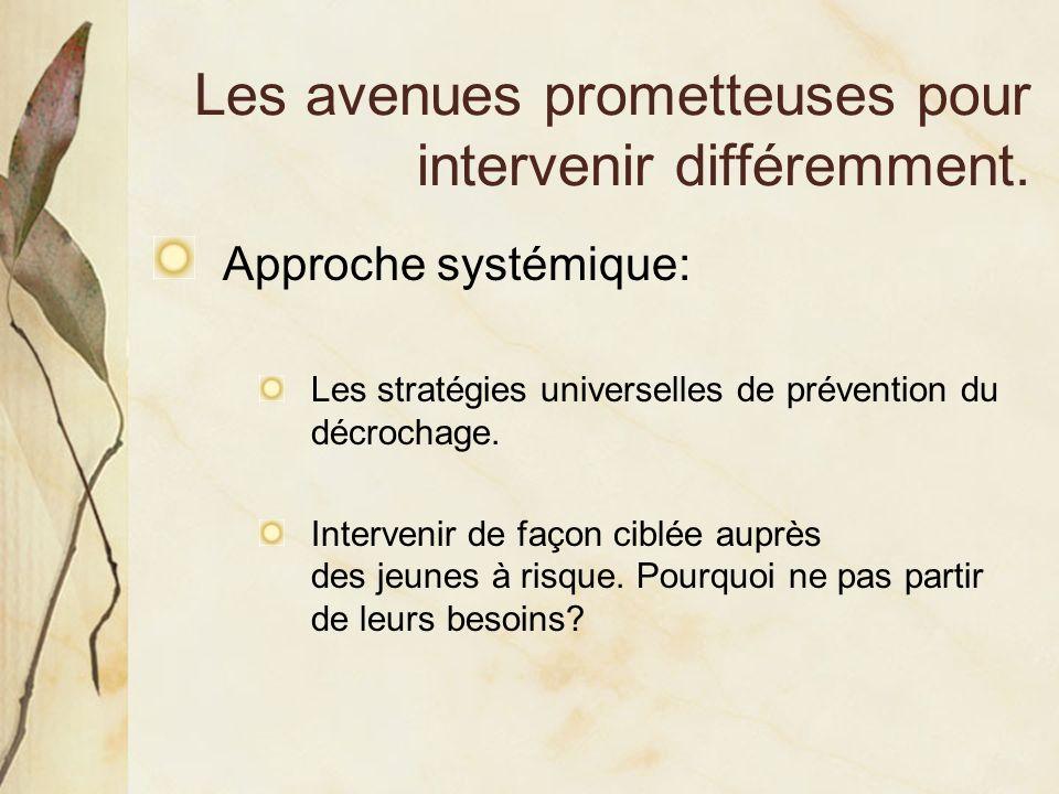 Les avenues prometteuses pour intervenir différemment. Approche systémique: Les stratégies universelles de prévention du décrochage. Intervenir de faç