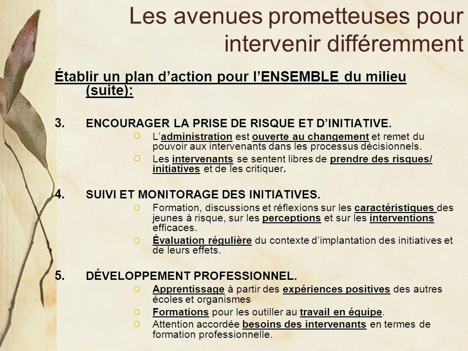 Les avenues prometteuses pour intervenir différemment Établir un plan daction pour lENSEMBLE du milieu (suite): 3. ENCOURAGER LA PRISE DE RISQUE ET DI