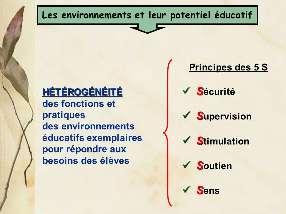 HÉTÉROGÉNÉITÉ HÉTÉROGÉNÉITÉ des fonctions et pratiques des environnements éducatifs exemplaires pour répondre aux besoins des élèves Principes des 5 S