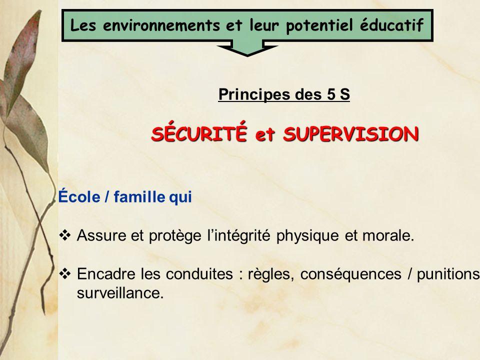 Principes des 5 S SÉCURITÉ et SUPERVISION École / famille qui Assure et protège lintégrité physique et morale. Encadre les conduites : règles, conséqu