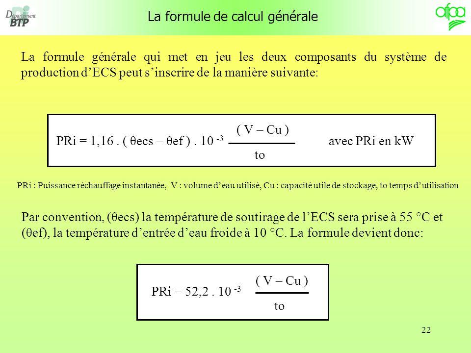22 La formule de calcul générale La formule générale qui met en jeu les deux composants du système de production dECS peut sinscrire de la manière suivante: PRi = 1,16.