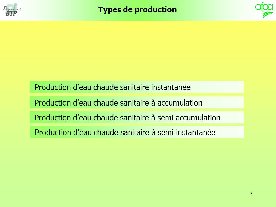 3 Types de production Production deau chaude sanitaire instantanée Production deau chaude sanitaire à accumulation Production deau chaude sanitaire à semi accumulation Production deau chaude sanitaire à semi instantanée