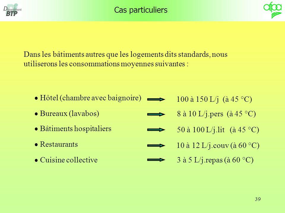 39 Cas particuliers Dans les bâtiments autres que les logements dits standards, nous utiliserons les consommations moyennes suivantes : Hôtel (chambre avec baignoire) Bureaux (lavabos) Bâtiments hospitaliers Restaurants Cuisine collective 100 à 150 L/j (à 45 °C) 8 à 10 L/j.pers (à 45 °C) 50 à 100 L/j.lit (à 45 °C) 10 à 12 L/j.couv (à 60 °C) 3 à 5 L/j.repas (à 60 °C)
