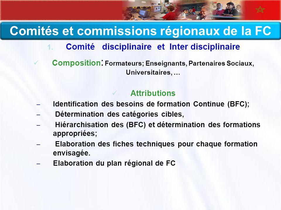 Comités et commissions régionaux de la FC 1. Comité disciplinaire et Inter disciplinaire Composition : Formateurs; Enseignants, Partenaires Sociaux, U