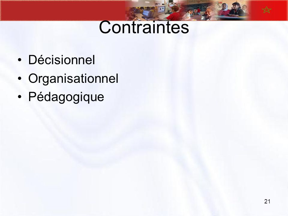 Contraintes Décisionnel Organisationnel Pédagogique 21