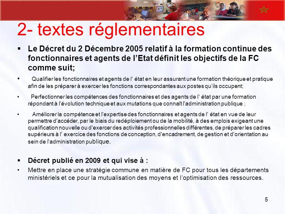 2- textes réglementaires Le Décret du 2 Décembre 2005 relatif à la formation continue des fonctionnaires et agents de lEtat définit les objectifs de l