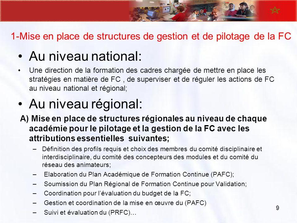 1-Mise en place de structures de gestion et de pilotage de la FC Au niveau national: Une direction de la formation des cadres chargée de mettre en pla