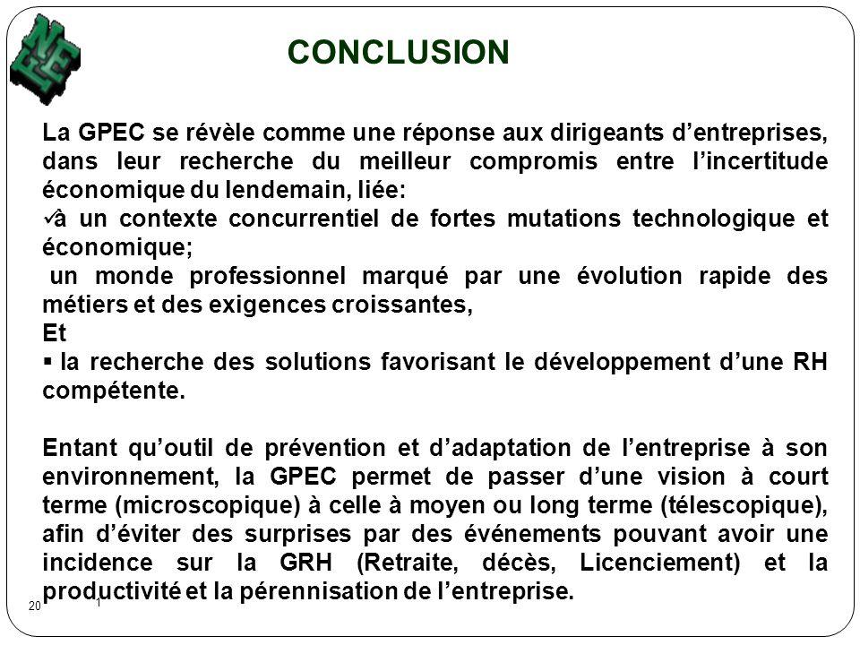 1 20 CONCLUSION La GPEC se révèle comme une réponse aux dirigeants dentreprises, dans leur recherche du meilleur compromis entre lincertitude économiq
