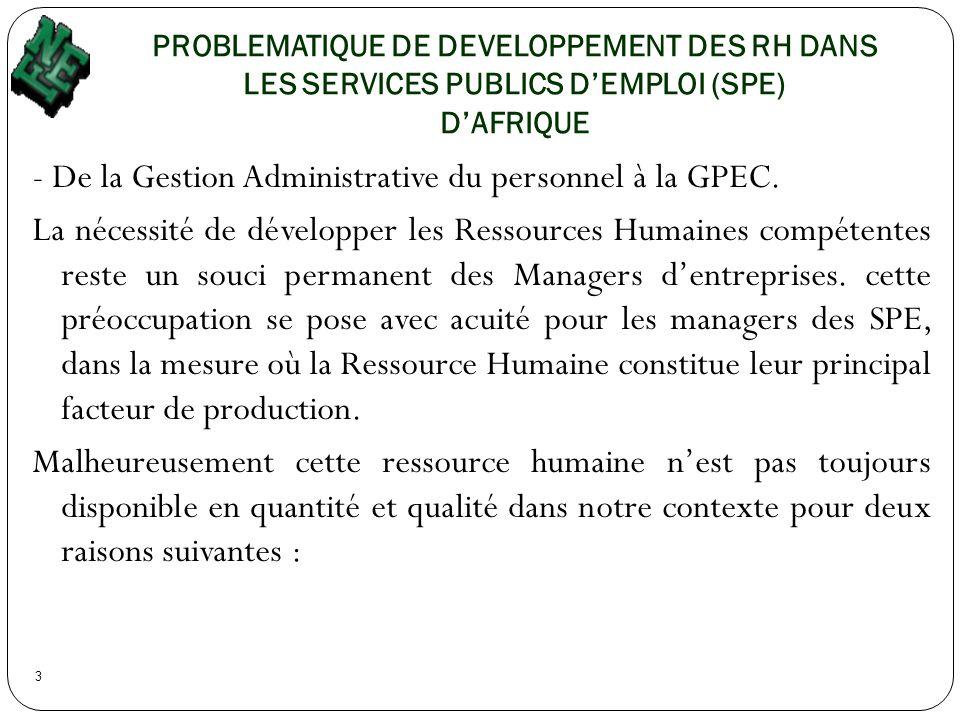 PROBLEMATIQUE DE DEVELOPPEMENT DES RH DANS LES SERVICES PUBLICS DEMPLOI (SPE) DAFRIQUE 3 - De la Gestion Administrative du personnel à la GPEC. La néc