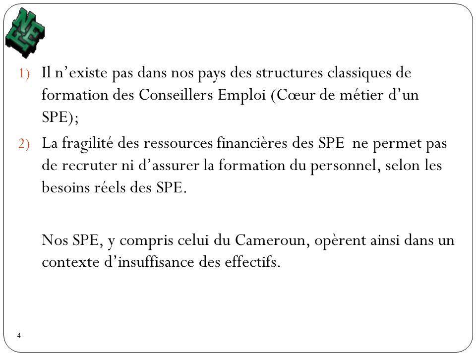 4 1) Il nexiste pas dans nos pays des structures classiques de formation des Conseillers Emploi (Cœur de métier dun SPE); 2) La fragilité des ressourc