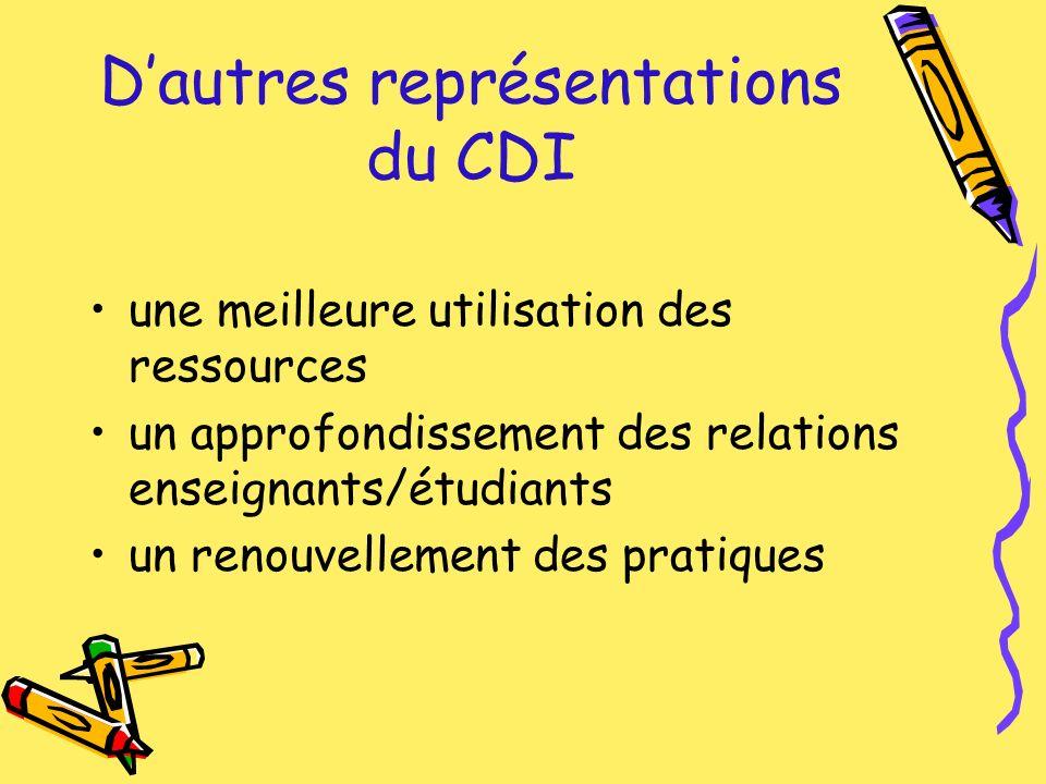 Dautres représentations du CDI une meilleure utilisation des ressources un approfondissement des relations enseignants/étudiants un renouvellement des pratiques