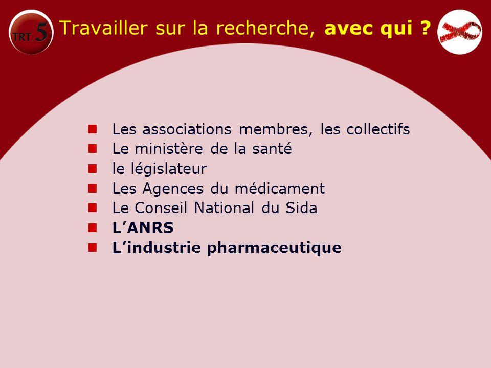 Travailler sur la recherche, avec qui ? Les associations membres, les collectifs Le ministère de la santé le législateur Les Agences du médicament Le