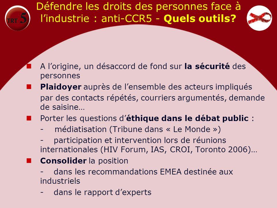 Défendre les droits des personnes face à lindustrie : anti-CCR5 - Quels outils? A lorigine, un désaccord de fond sur la sécurité des personnes Plaidoy
