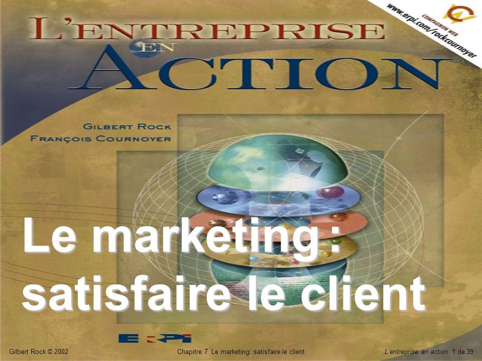 Gilbert Rock © 2002Chapitre 7 Le marketing: satisfaire le clientLentreprise en action 32 de 39 Principales activités des intermédiaires L__________, qui permet de garder les produits en stock pour répondre à la demande.