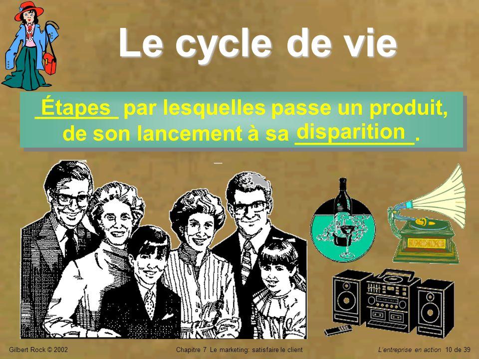 Gilbert Rock © 2002Chapitre 7 Le marketing: satisfaire le clientLentreprise en action 10 de 39 Le cycle de vie _______ par lesquelles passe un produit