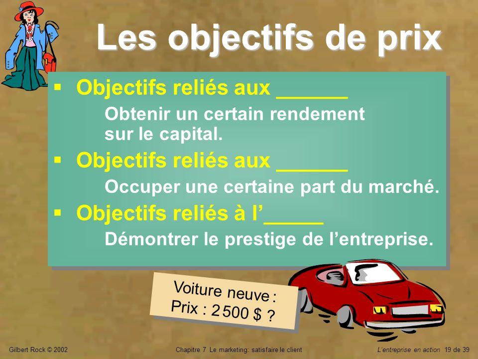 Gilbert Rock © 2002Chapitre 7 Le marketing: satisfaire le clientLentreprise en action 19 de 39 Les objectifs de prix Objectifs reliés aux ______ Obten