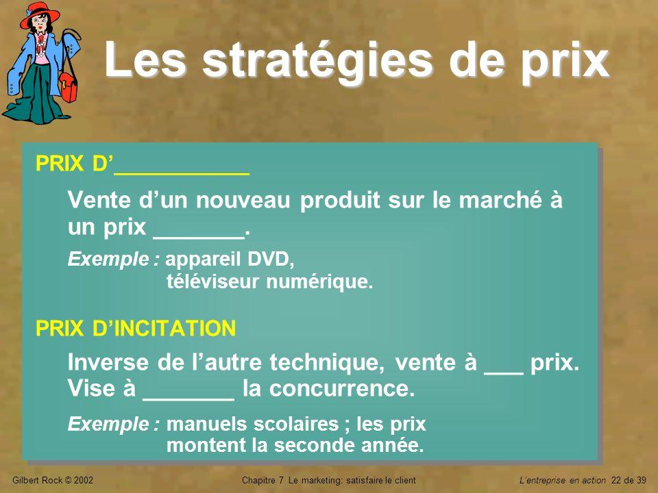Gilbert Rock © 2002Chapitre 7 Le marketing: satisfaire le clientLentreprise en action 22 de 39 Les stratégies de prix PRIX D___________ Vente dun nouv