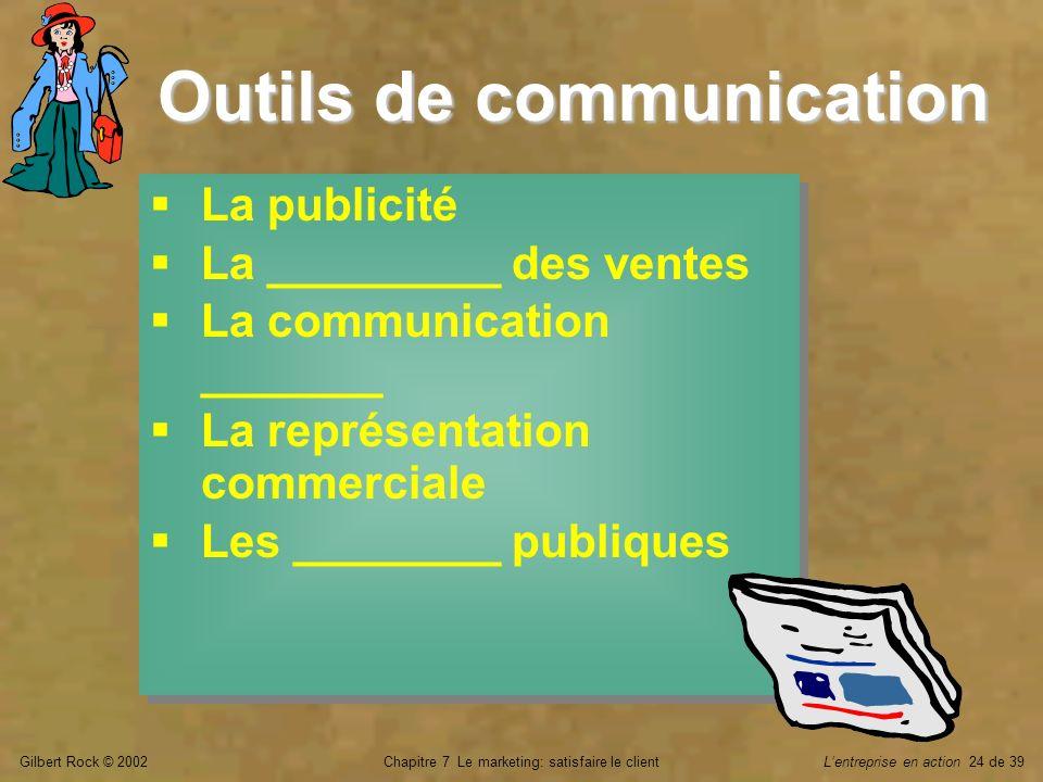 Gilbert Rock © 2002Chapitre 7 Le marketing: satisfaire le clientLentreprise en action 24 de 39 La publicité La _________ des ventes La communication _