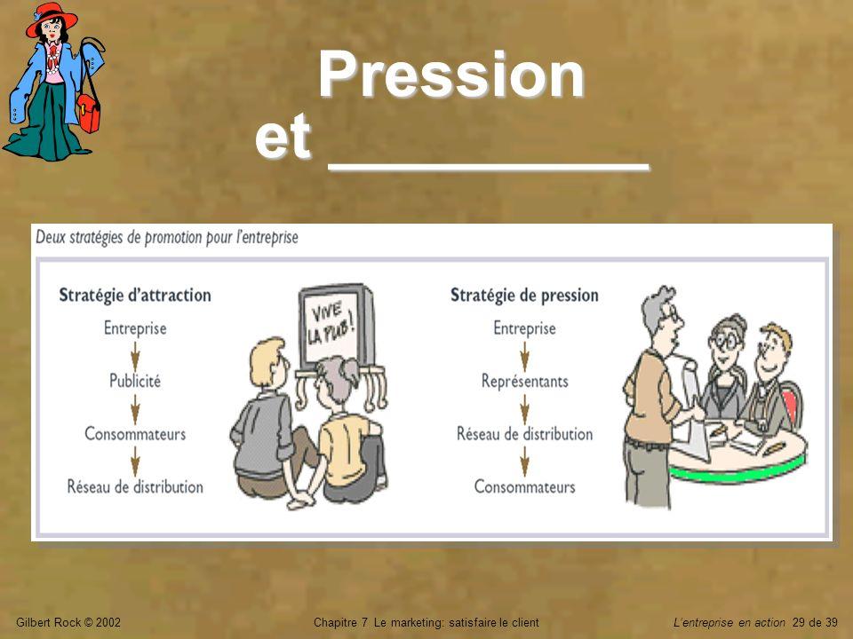 Gilbert Rock © 2002Chapitre 7 Le marketing: satisfaire le clientLentreprise en action 29 de 39 Pression et _________