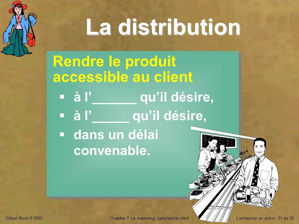 Gilbert Rock © 2002Chapitre 7 Le marketing: satisfaire le clientLentreprise en action 31 de 39 La distribution Rendre le produit accessible au client