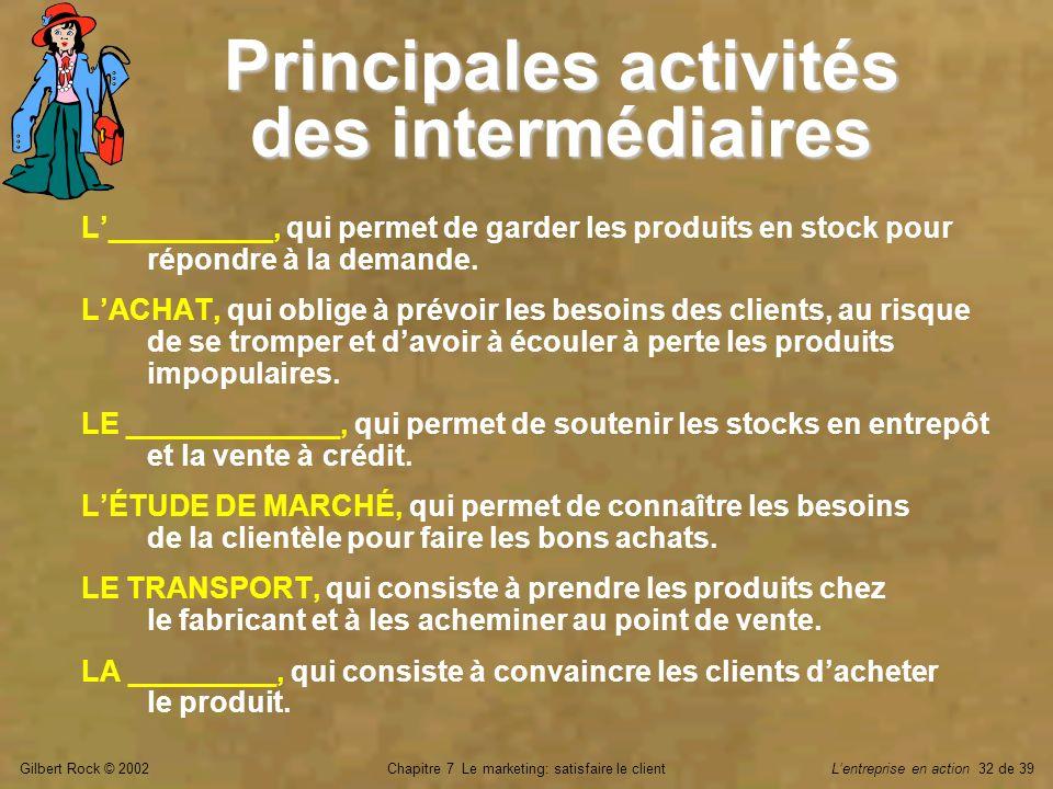 Gilbert Rock © 2002Chapitre 7 Le marketing: satisfaire le clientLentreprise en action 32 de 39 Principales activités des intermédiaires L__________, q